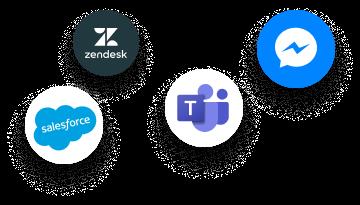 Intégrations Smart FAQ, FAQ dynamique, Salesforce, Zendesk, Teams, Messenger